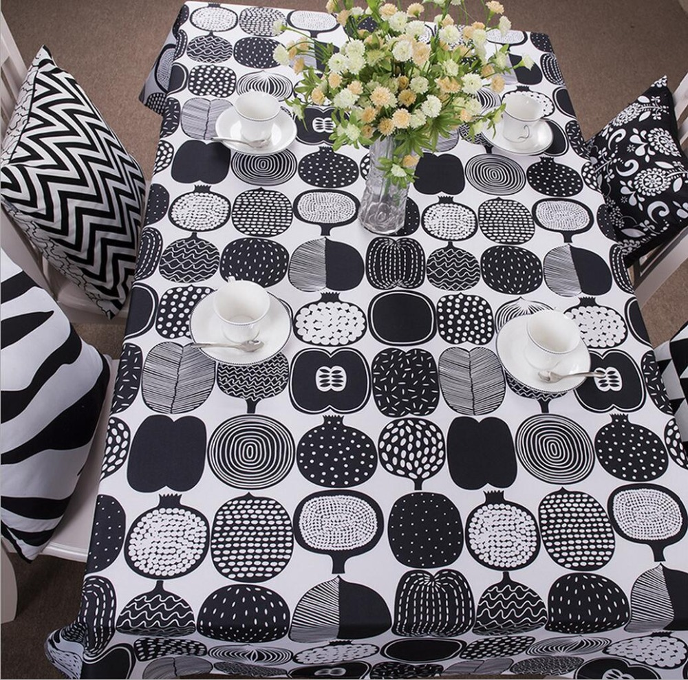 Geometric Black And White Table Cloth Oxford Tablecloth For The