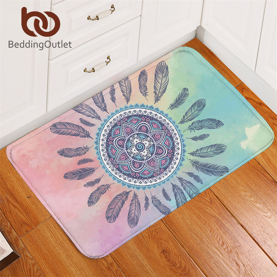 Rooster Tapestry Non Skid Rug: BeddingOutlet Mandala Bath Rugs Non Slip Pink And Blue