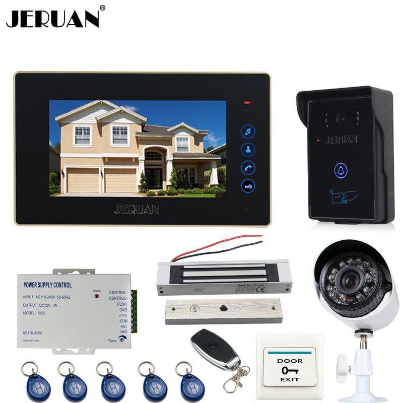 JERUAN  7 inch Video door Phone Entry intercom System kit RFID Access IR Camera +metal 700TVL Analog Camera+ 180KG Magnetic lock