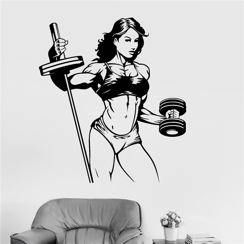 Vinyl Wall Decal Fitness Woman Gym Sports Girl Stickers Cartoon Vinyl room Art Decor Home Decor Removable Wall Sticker U396