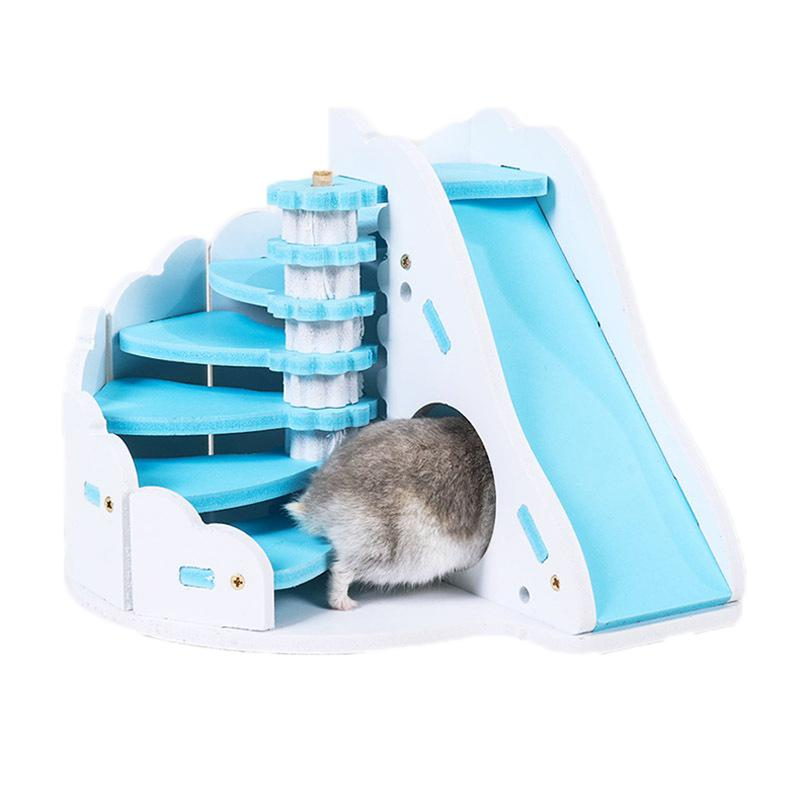 Nice Asypets Wooden Pet Hamster Colorful Round Slide Balcony House Bed Cage Nest Pet Toy 25 Small Animal Supplies