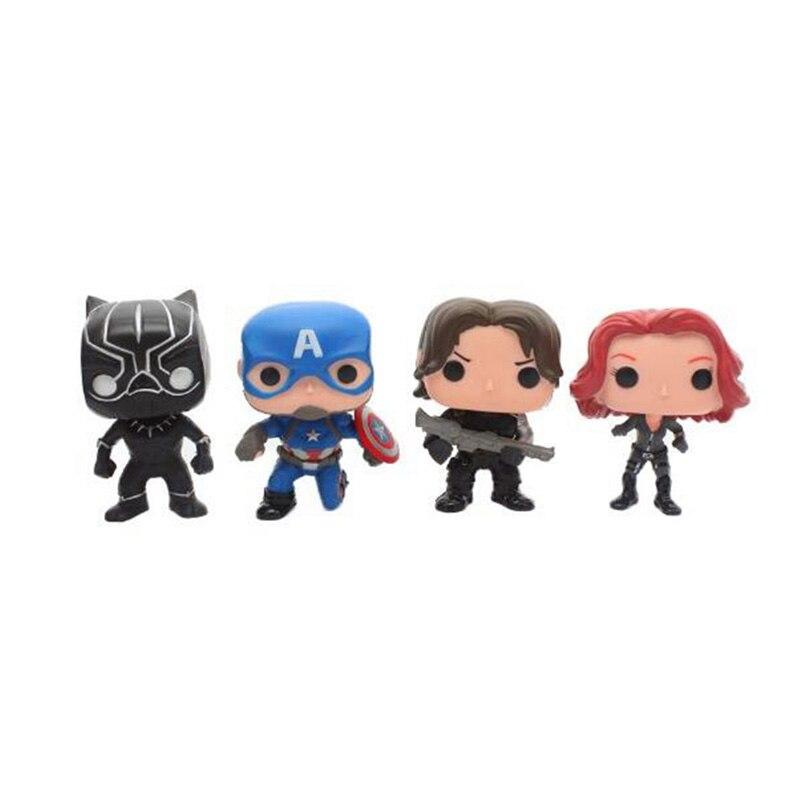 4pcs/lot <font><b>Funko</b></font> <font><b>POP</b></font> Avengers <font><b>Marvel</b></font> <font><b>Captain</b></font> <font><b>America</b></font> <font><b>3</b></font> <font><b>Civil</b></font> <font><b>War</b></font> Black Widow Panther Winter Soldier Vinyl PVC Action Figure Model