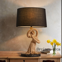 American Retro Personality Decoration Table Lamp Rope Study Bedroom Living Room Bedside European Cloth Cover Lamp