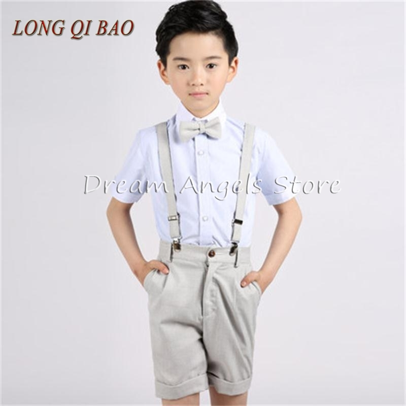 (Straps+shirt+bow tie+pants)Boy Clothes Suit Kid 4 Pcs Milky Children Spring Summer Formal Clothing Set For Wedding kids clothes 2016 autumn boys formal clothing set vest shirt pants three piece suit for children 3 5 8 10 age kids clothes bow baby boy set