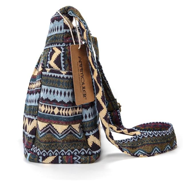 Women Crossbody Bag Vintage Large Capacity Shoulder Bag Multi-pocket Cotton Messenger Bag Hobo for Ladies 1