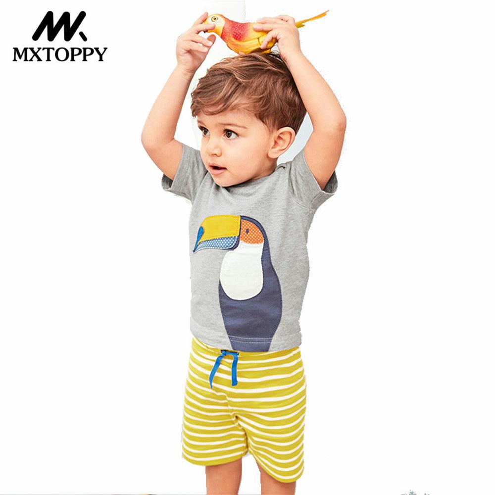 MXTOPPY Boys Clothes Sets Summer Children Clothing Animal Unicorn Tops+Shorts Boys Sport Suits For Kids Clothes