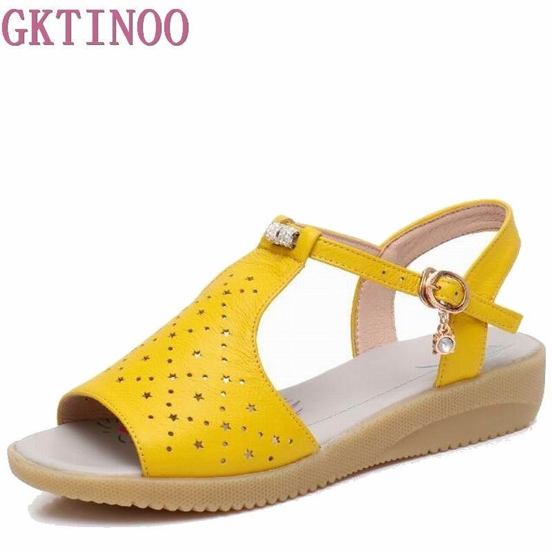 GKTINOO 2018 Genuine Leather Women Sandals Fashion Summer Sweet Women Flats Heel Sandals Ladies Shoes large size 35-43 us 8size full real leather sweet women 2017 summer ankle strap flat heel sandals ladies hot fashion red blue apricot flats shoes