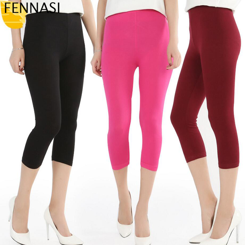 FENNASI Women Cropped   Leggings   3/4 Length Summer Style Candy Color Lady   Leggings   Plus Size High Elastic Pants Push Up   Leggings