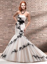 11-36 Sexy Ruffle Sweetheart Black Lace Cover Mermaid Wedding Dresses