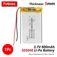 37V 800mAh 503048 Rechargeable polymer lithium ion Li-ion battery With PCB for dvr MP3 MP4 GPS DVD Toy Bluetooth Speaker