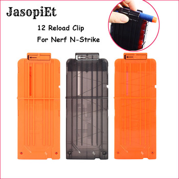 JasopiEt 12 Reload Clip Magazines Round Darts Replacement Plastic Magazines Toy Gun Soft Bullet Clip Orange For Nerf N-Strike