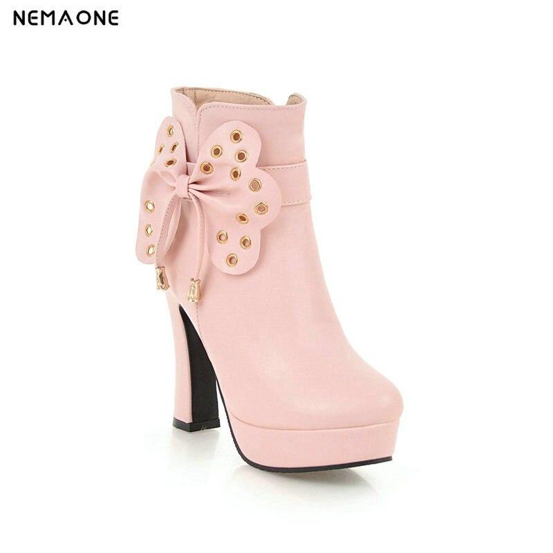 Negro Señoras Negro Rosa Sweet Invierno blanco Gran De Zapatos Otoño Mujer 43 Mujeres Altos rosado Blanco Tacones Botas Tobillo Nemaone Tamaño xgUqX8q