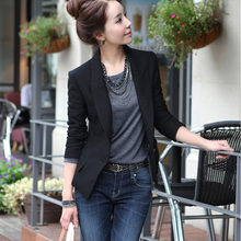 Notched Collar Women's Blazers Coat Single Button Full Length Slim Solid Black Blazer For Woman 2018 Spring Autumn Female Coats(China)