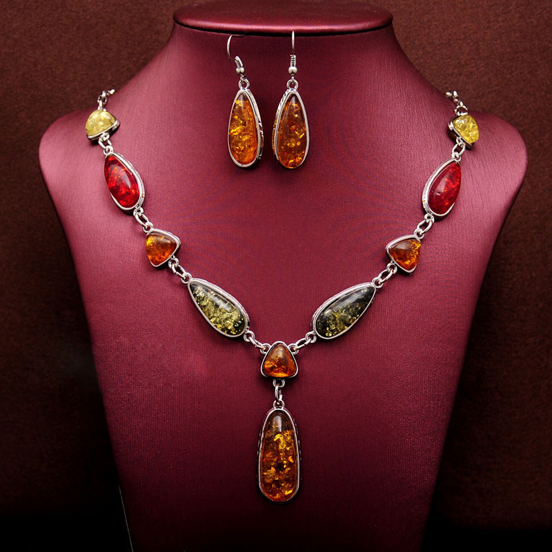 Hottest Free shipping African Wedding Jewelry Sets Vintage Retro Waterdrop Pendant Necklace Earrings Jewelry Set