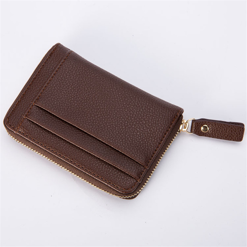 HNXZXB Men Womens Card Holder Genuine pu Cute Double Zipper Card Wallet Small Purse for Men Card Purses 586