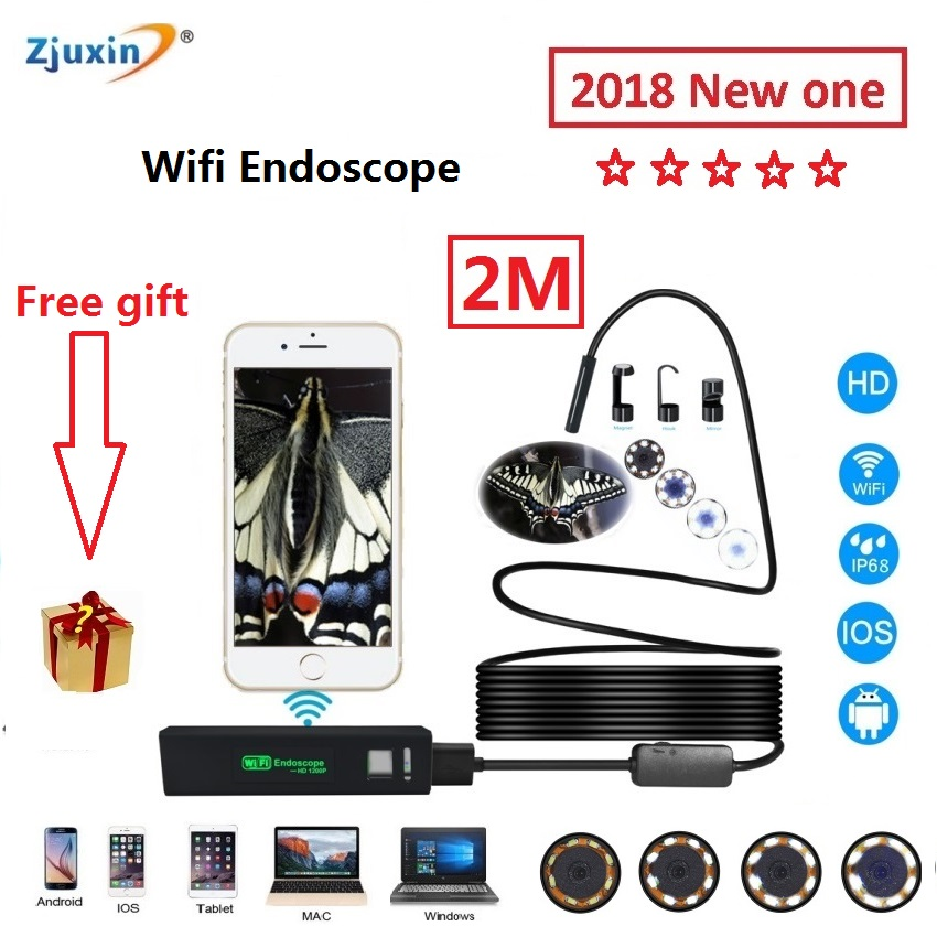 WIFI Endoscope New Camera 8mm HD Lens 2M USB Iphone Android endoscope Tablet Wireless Endoscope wifi softwire 3 5m wifi endoscope new camera 8mm hd lens usb iphone android endoscope tablet wireless endoscope wifi softwire
