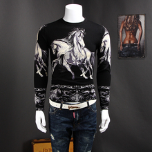 3D printing turtleneck sweater patterns hot sale personality men's casual wear sweaters Male horse design sweater 612