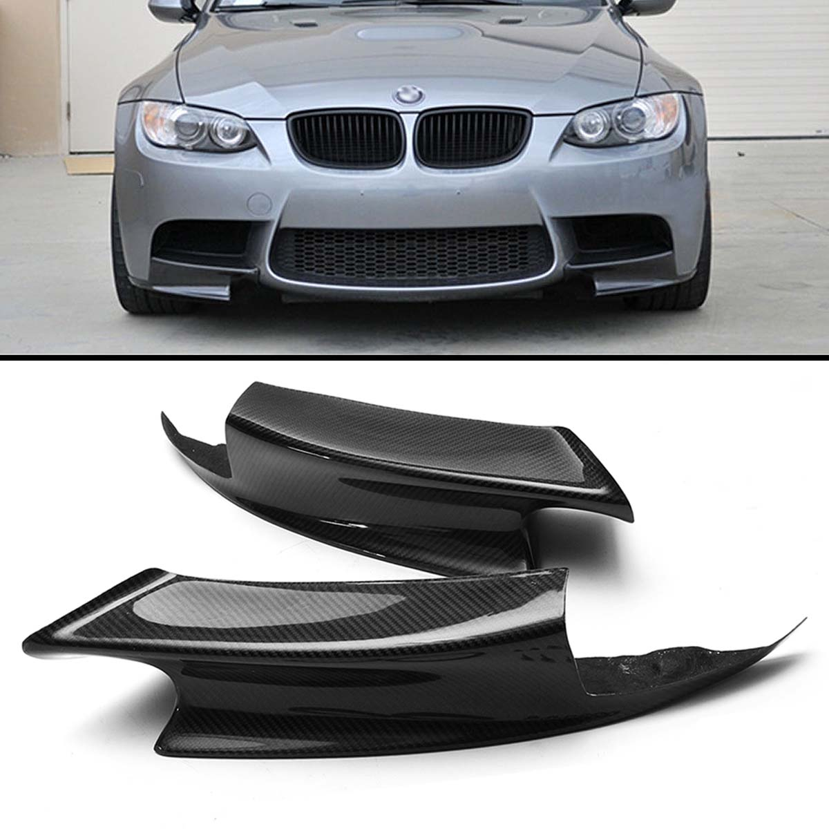 2PCS Carbon Fiber Front Bumper Lip Splitter Spoiler Flap Cupwings for B MW 07-12 E92 E93 M3 M-sport Bumper fit 05 06 07 08 09 10 11 12 13 chevy corvette c6 base front bumper lip splitter spoiler pu