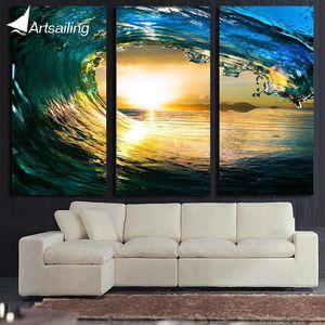 ArtSailing 3 panel płótno HD wall art fala oceaniczna zachód słońca morze obraz dekoracyjny do domu zdjęcia do salonu plakaty ny-5741