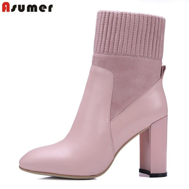ASUMER style doux femmes cheville bottes unique bout carré simple glissement sur confortable haute épais talons en cuir véritable bottes