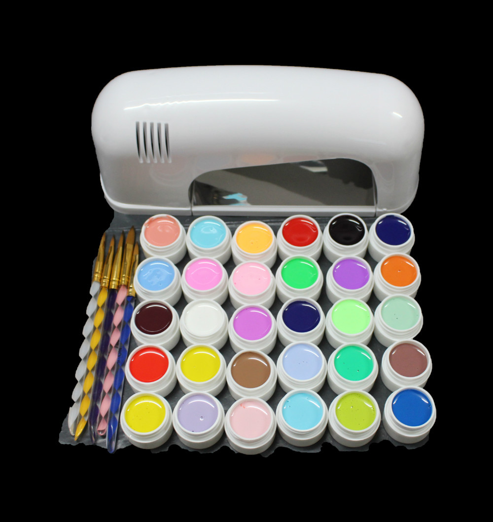 EM-118free shipping Pro 9W White UV Lamp Cure Dryer & 30 Color Pure UV GEL Brush Nail Art Set New btt 138 pro nail polish eu us plug 9w uv lamp gel cure glue dryer 54 powder brush set kit at free shipping