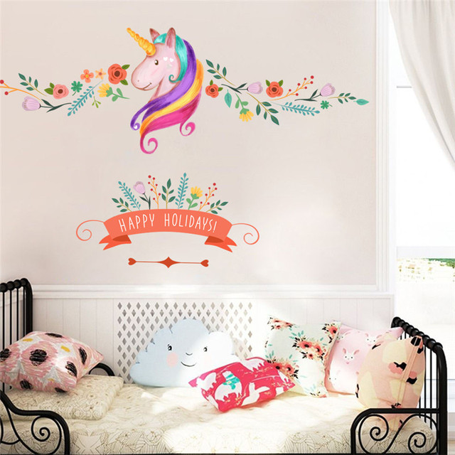 Colorful flower happy holidays unicorn wall stickers for kids girls window nursery room decor birthday christmas