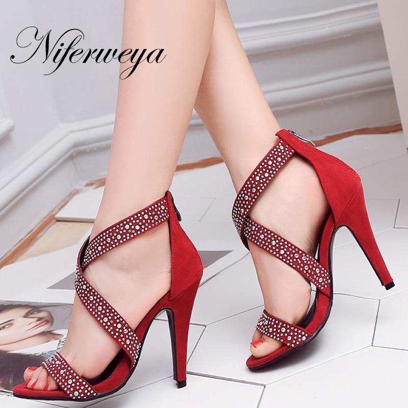 Heel Sandals Rhinestone-Decoration Women Shoes Sexy Big-Size Peep-Toe Summer Fashion