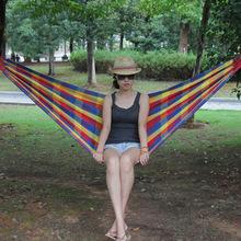Outdoor Garden Hammock Portable Hang BED Travel camping sleeping hammock Swing Canvas Stripe 200*80cm tanie tanio Meble ogrodowe Jednoosobowy Hamak Osoby dorosłe