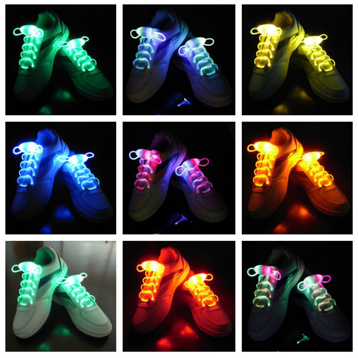 300PAIRS/LOT Multicolors Light Up LED Shoelaces New Fashion Boys Girls Flash Shoes Laces Disco Party Glowing Night Shoes Strings ...