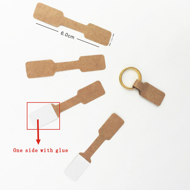 100pcs 1.2x6cm Brown White Paper Jewelry Display Card Labels Ring Sticker Hangtag Blank Paper Price Tag Labels Packaging H4036 labeling sticker packs stationery labels white label blank stickers self adhesive handwriting mark note tag price sticker