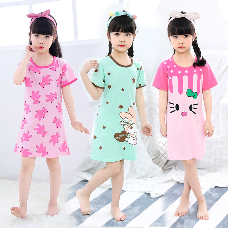 Nightwear Sleepwear Girl Children Summer Cartoon Cotton Short-Sleeves title=