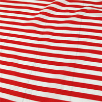 Chemical Fiber for Italian Yarn Micro elastic Clothing Dresses Printed with 1 cm Thick Red and White Stripes Fabrics