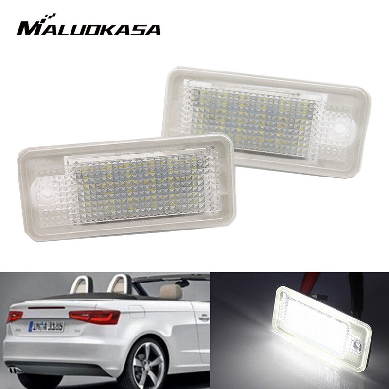 MALUOKASA 2Pcs 12V White 18 LED Number License Plate Light Lamp For AUDI A3 S3 8P/8PA A4 S4 B6/B7 RS4 A5 A6 S6 C6 A8 S8 D3 Q7 4L smaart v 7 new license