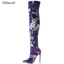 Mstacchi Sexy Stiletto Sock Women Booties Stretch Boots Women High Heels Over The Knee Boots Fashion Botas Mujer Shoes Women(China)