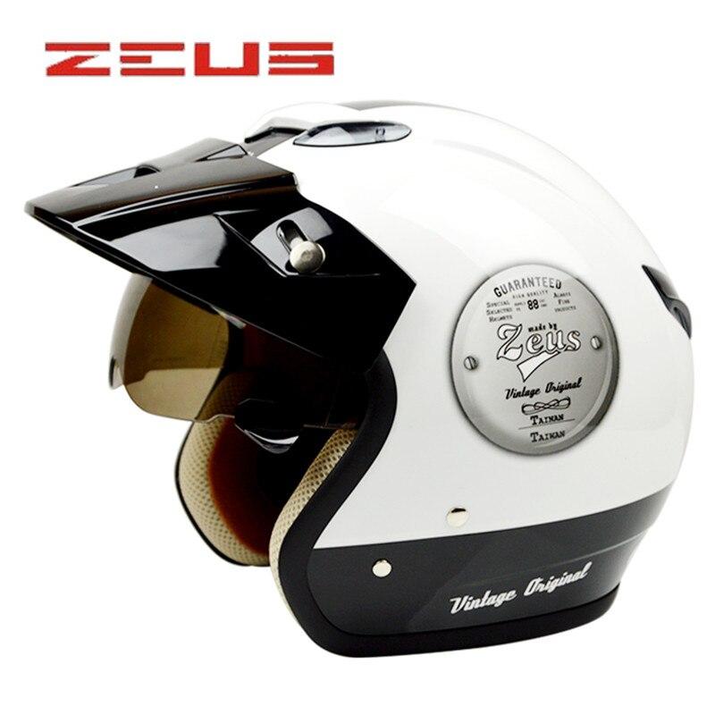 ZEUS 382 moto helmet 3 4 open face vintage helmets Cascos capacetes motorcycle helmet retro leather