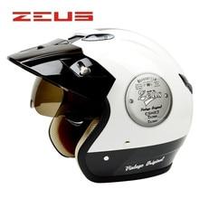 ZEUS 382  moto helmet 3/4 open face vintage helmets Cascos capacetes motorcycle helmet retro leather style DOT authenticate
