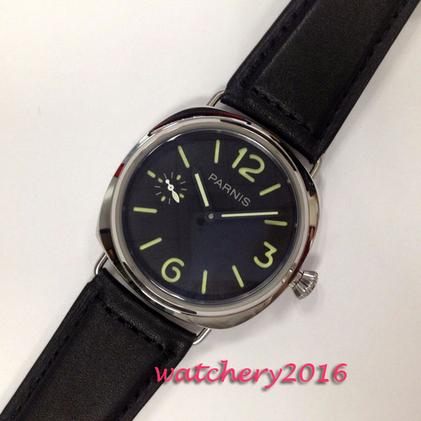 2017 Newest Hot 45mm Parnis Black dial SS Case Luminous Marks top brand Crystal 6497 Hand wind Mechanical Men's Watch 44mm black sterile dial green marks relojes 6497 mens mechanical hand winding watch luminous armbanduhr cm164bk