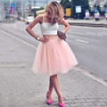 Fashion Spaghetti Strap Two piece Homecoming Dress -White Top with Pink Skirt Party Dress For Graduation
