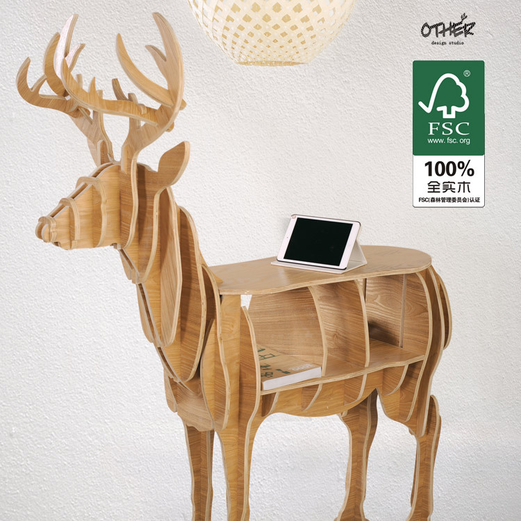 Large Size Christmas Deer Table European DIY Arts Crafts Home Decorative Elk  Wood Craft Gift Desk Self Build Puzzle Furniture