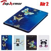 TopArmor Para iPad Aire 2 Tablet Caso Del Niño Nuevo Animal Impreso Pata de Cabra Cubierta Caja de la Carpeta del tirón de LA PU para el ipad 6 A1566 A1567