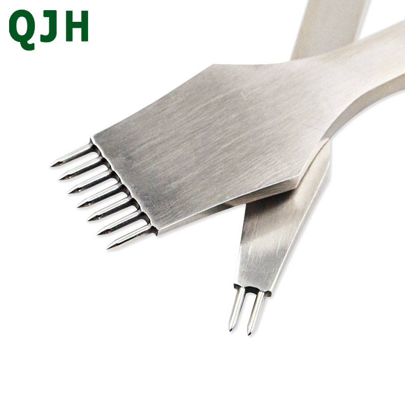 Die-steel Leather Punch Tool Round Hole Craft Leather Chisel Pricking Iron Stitching Tools For Leather 3/4/5mm Spacing