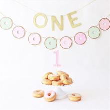 Sweet Donut Cake Topper Baby Shower Girl Decor Grow Up Balloons 1th Birthday Party