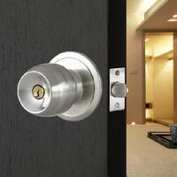 WSFS Hot Sale Stainless Steel Round Door Knobs Handle Entrance Passage Lock Entry With Key New