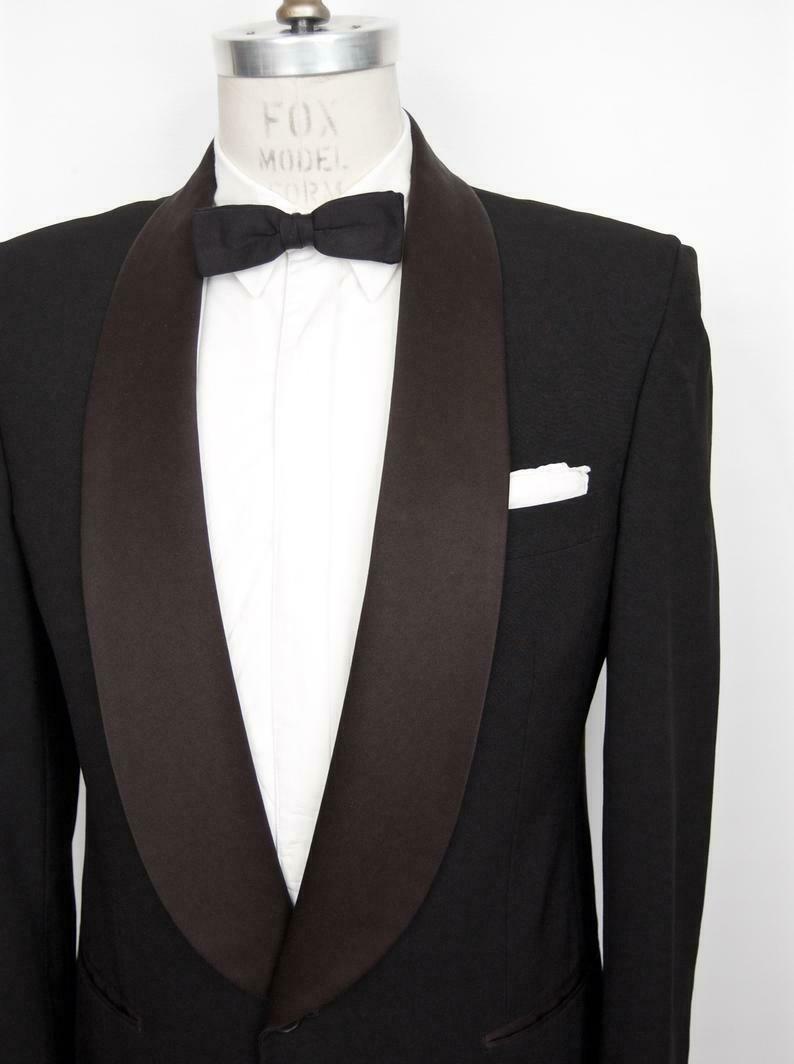 1950s-Style Shawl Collar Tuxedo Jacket Vintage Capobianco Black Tux Suit Coat