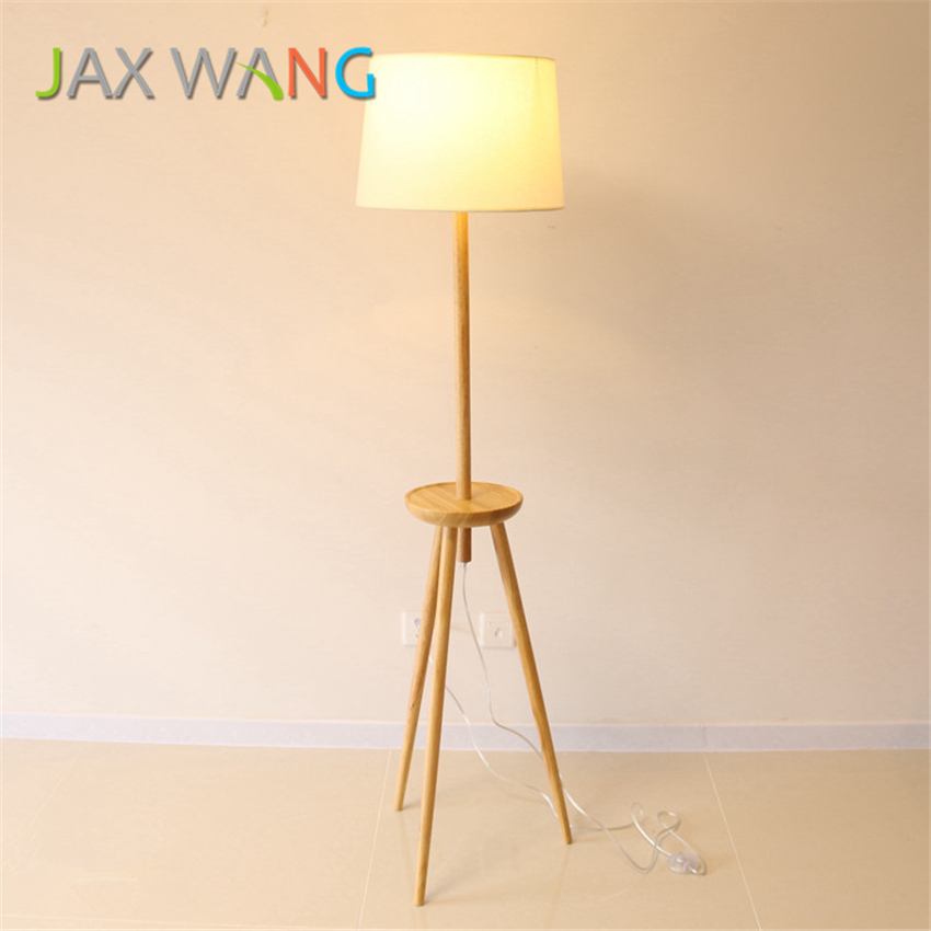 LED E27 Modern Life Wood Floor Lamp Living Room Bedroom Study Standing Lamps White Fabric Wooden Lights Decor