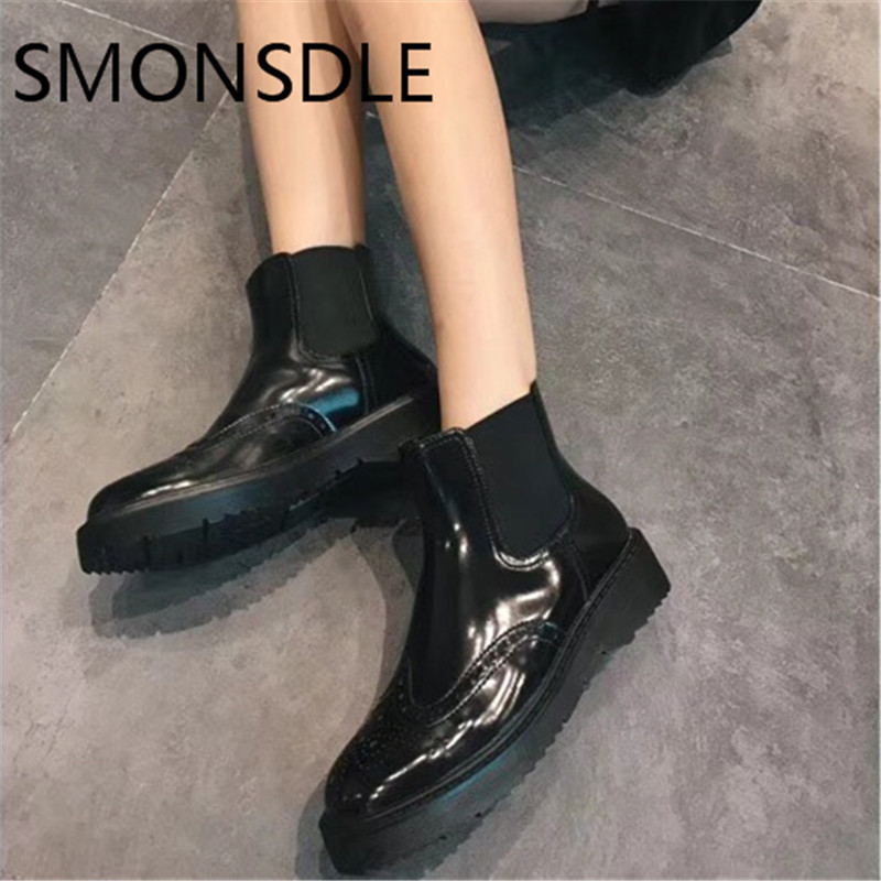 SMONSDLE 2018 New Casual Black Genuine Leather Women Ankle Boots Round Toe Slip On Women Autumn Winter Short Boots Shoes 2017 new genuine leather elastic band chunky women ankle boot casual round toe anti skid spring autumn flat short boots zy170919