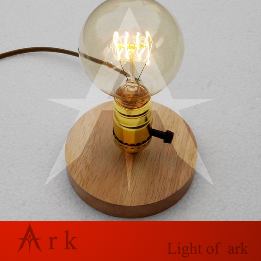 ark light E26 E27 Industrial Vintage Edison Solid wood Base Socket Desk Light LED Table Reading