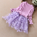 2016 Baby girls fashion sweater medium dress vestidos girl long sleeve party princess dress new year clothing for kids 338