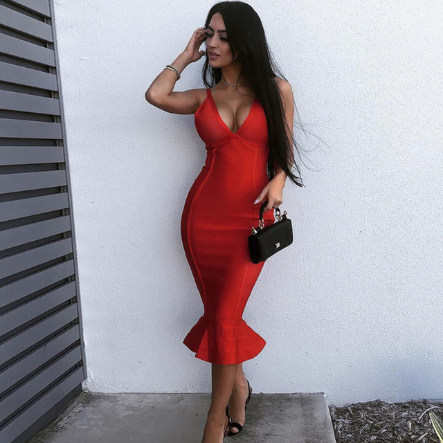 f304d645df4 US $28.77 26% OFF|2018 Newest Summer Bandage Dress Women Celebrity Party  Spaghetti Strap V Neck Sexy Club Night Out Dress Women Mermaid Vestidos -in  ...