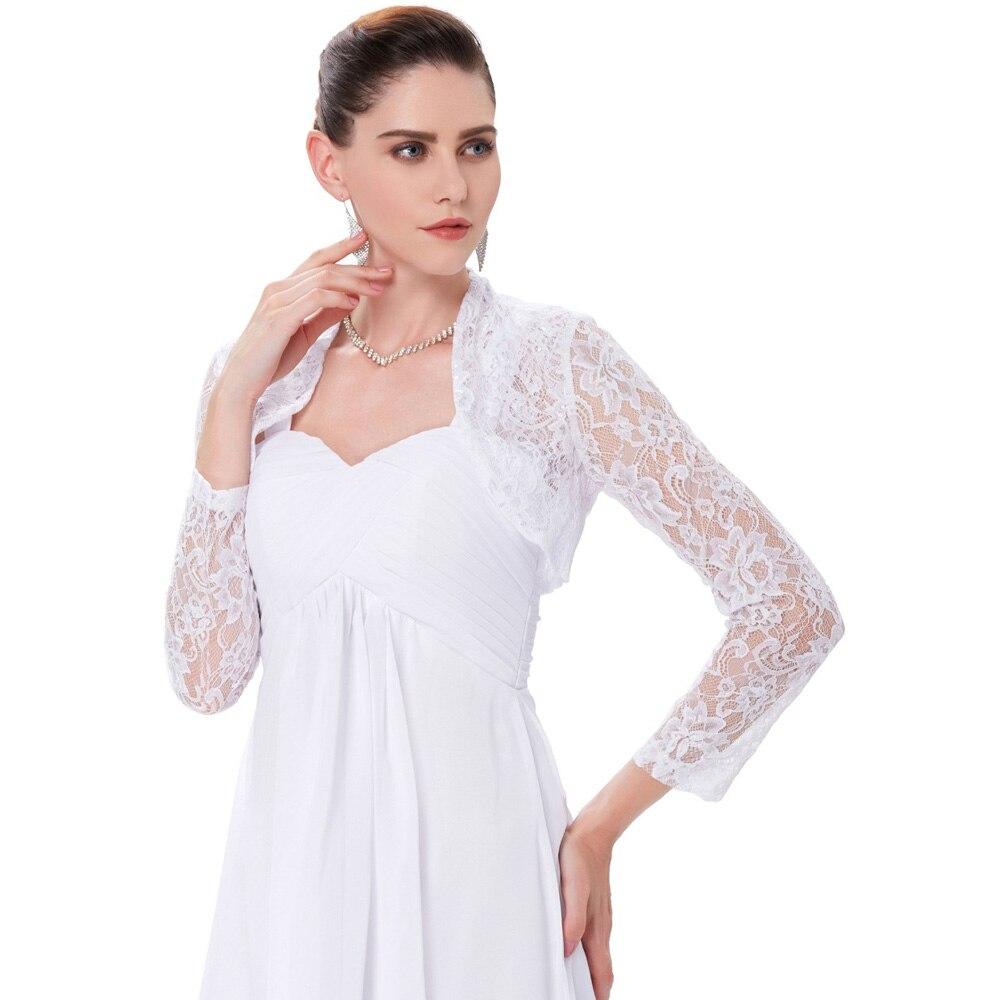 US $16.92 |Elegant Long Sleeve Lace Bridal Bolero Jacket Evening Party  Cropped Wedding Accessories Plus Size Boleros And Shrugs Short Coat-in  Wedding ...